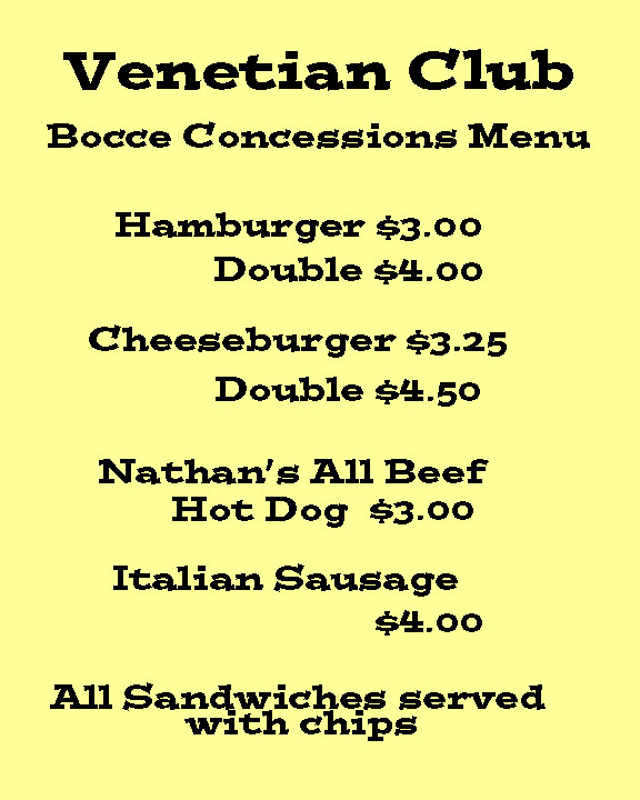 The venetian club bocce concessions for Fish fry rockford il