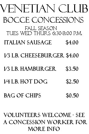 The venetian club fall bocce concessions for Fish fry rockford il